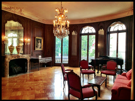 This is the Music Room located on the Second Floor, which overlooks Fifth Avenue.